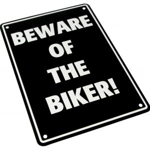 Bike It Aluminium Parking Sign - Beware Of The Biker